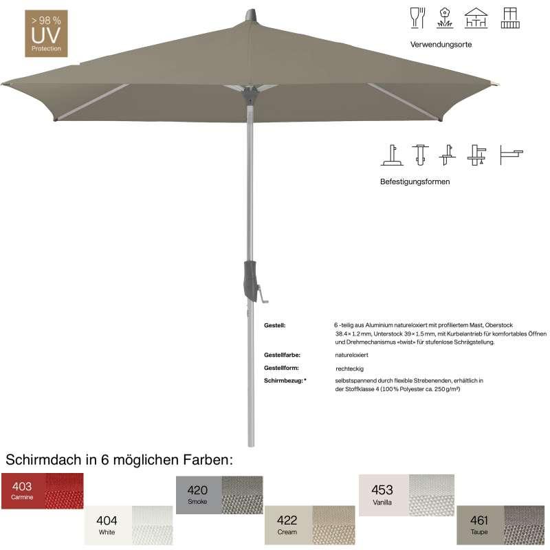 GLATZ Sonnenschirm ALU-TWIST rechteckig 210 x 150 cm in 6 Farben Mittelmastschirm