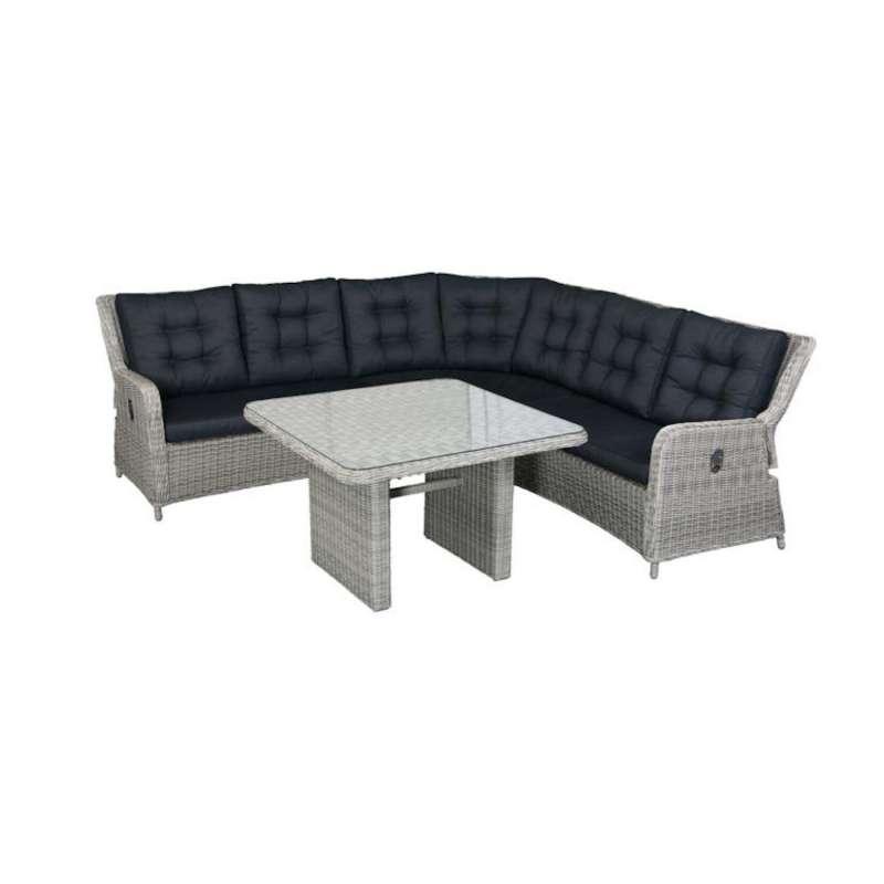 Inko 2-teilige Lounge-Sitzgruppe Galaxy Rattanoptik mit Tisch 110x110 cm light grey Loungegruppe