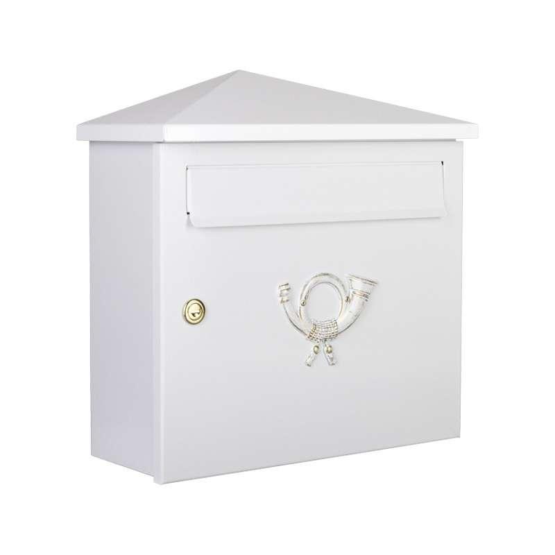 Heibi Briefkasten PINA Stahl pulverbeschichtet weiß DIN C4 quer Posthorn