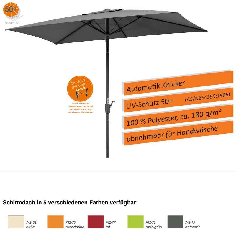 Schneider Schirme Tunis Sonnenschirm 270 x 150 cm eckig 5 Farben Mittelmastschirm Balkonschirm