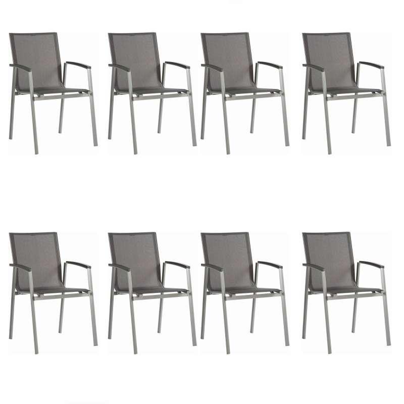 Stern 8er-Set Stapelsessel New Top Aluminium graphit/Textilen silbergrau Gartenstuhl Stapelstuhl