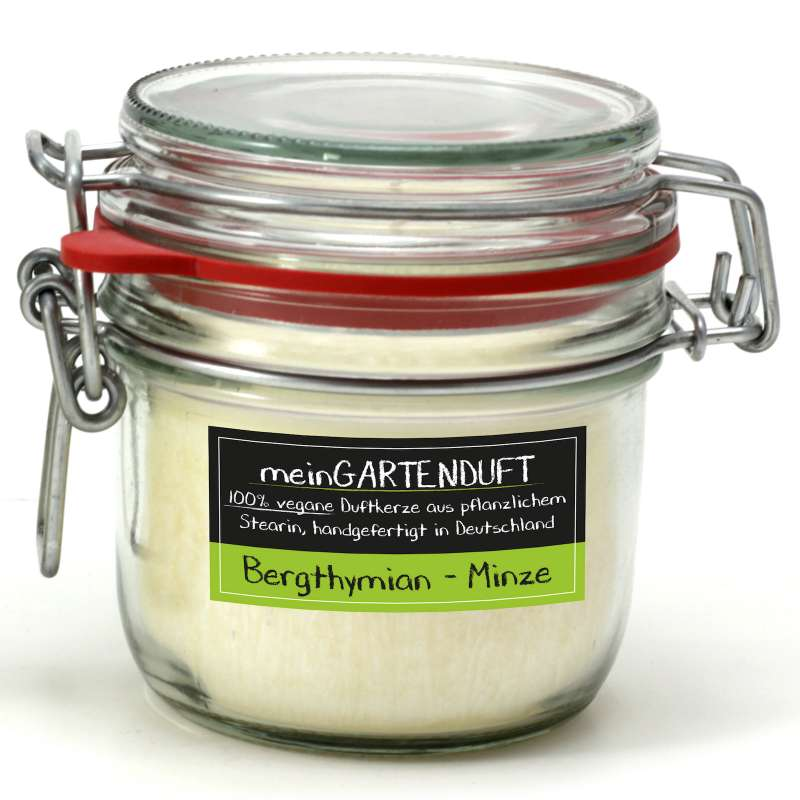 Candle Factory meinGartenduft Berthymian-Minze Drahtbügelglas klein 507-002