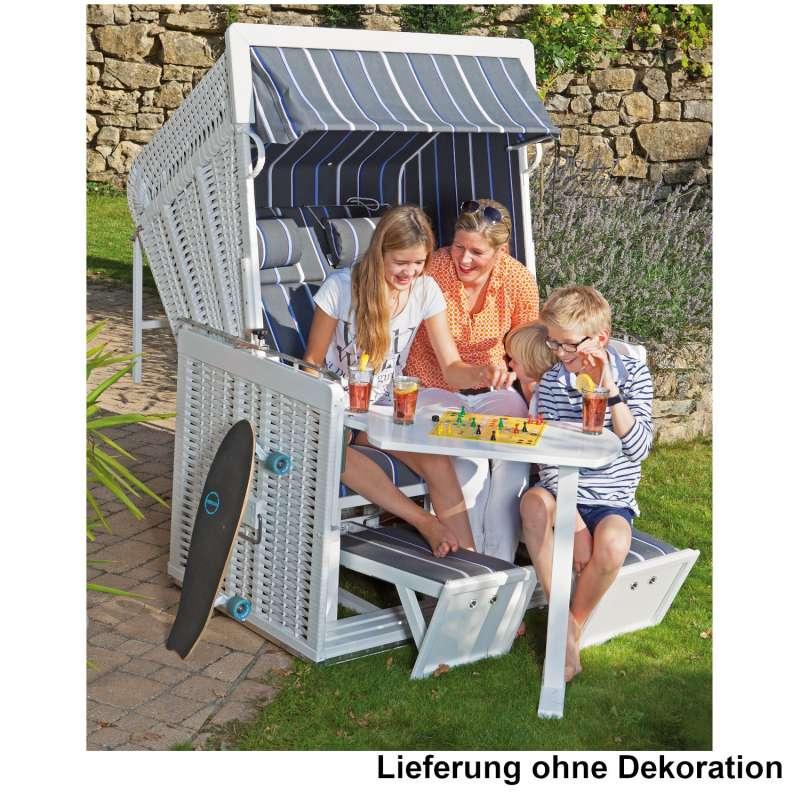 Sonnenpartner Strandkorb Präsident 2-Sitzer Liegemodell weiß/grau mit Sonderausstattung