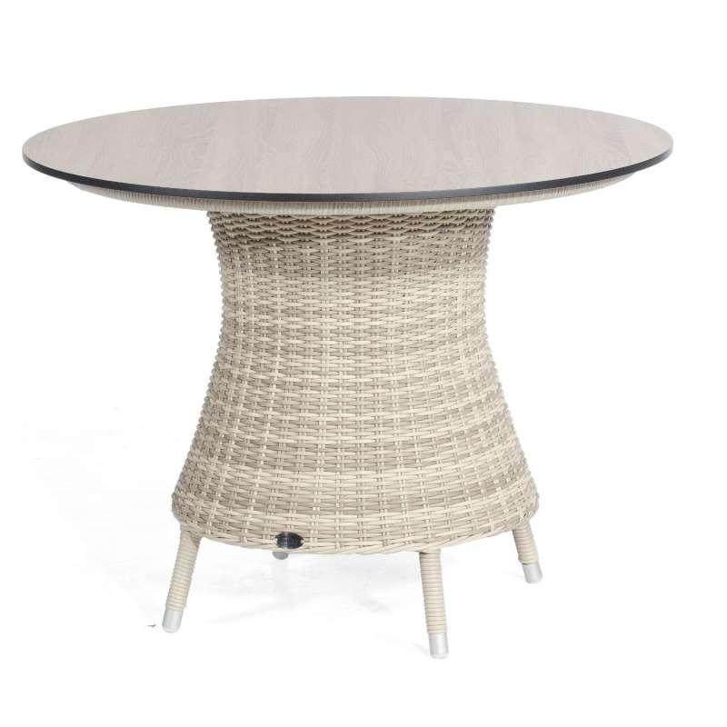 Sonnenpartner Gartentisch Base rund Ø 100 cm Aluminium mit Polyrattan white-coral Tischsystem mit wä