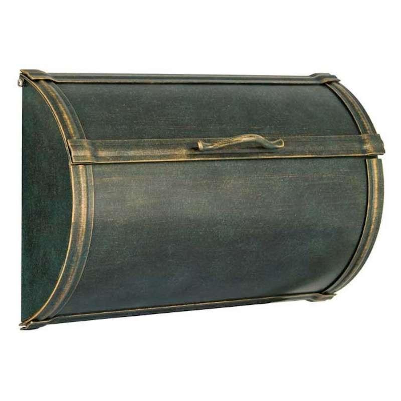 Heibi Zeitungskasten TORNO Edelstahl patiniert grün-gold 42x10,5x26,5 cm