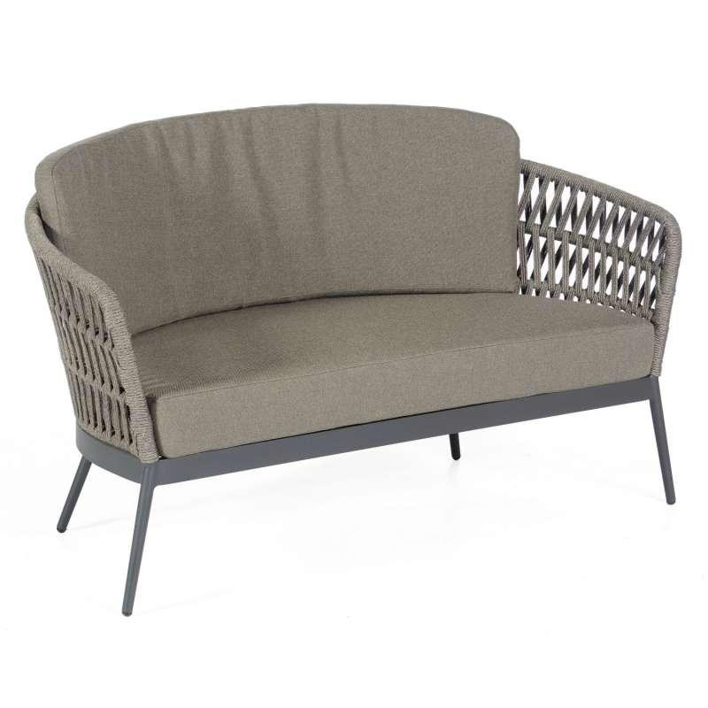Sonnenpartner Loungesofa Advokat Aluminium mit Polyrope grau Relaxsofa Garten-Sofa