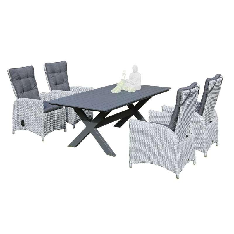 SunnySmart 5-teilige Sitzgruppe Para-Plus & Topas Aluminium Kunststoffgeflecht silber-grau mit Tisch