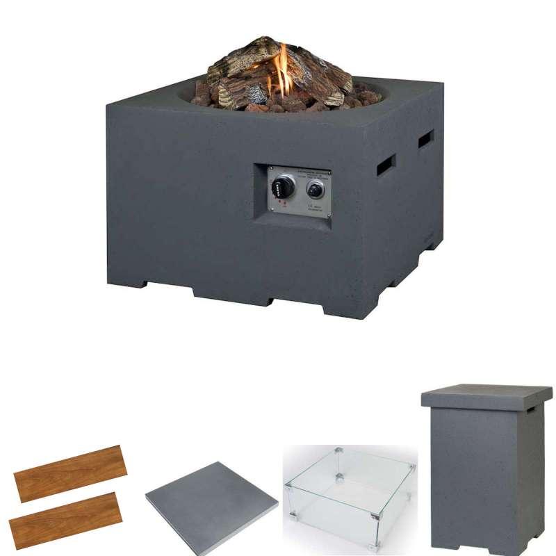 Happy Cocooning Mania Feuertisch Komplettset 12 kW quadratisch klein 60x60x40 cm Beton-Optik grau
