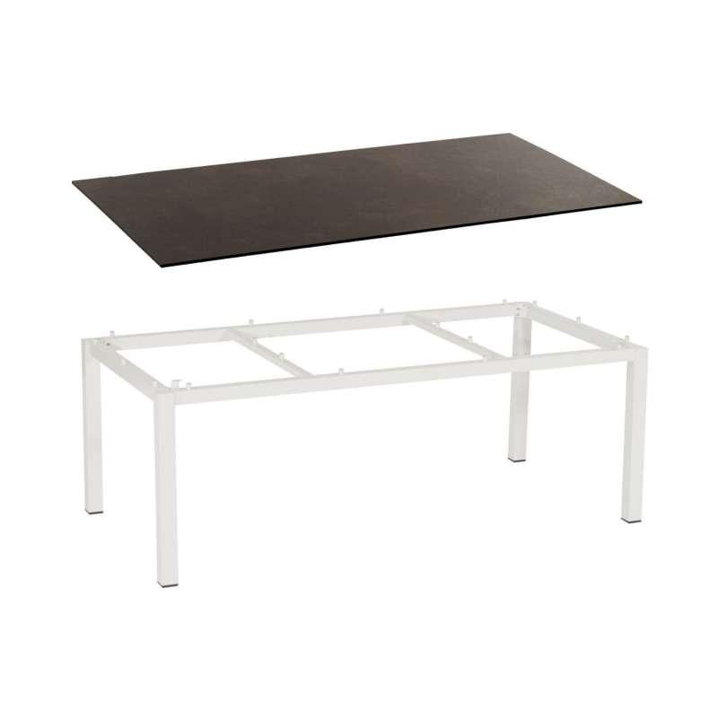 Sonnenpartner Gartentisch Base 200x100 cm Aluminium weiß Tischsystem mit wählbarer Tischplatte HPL T