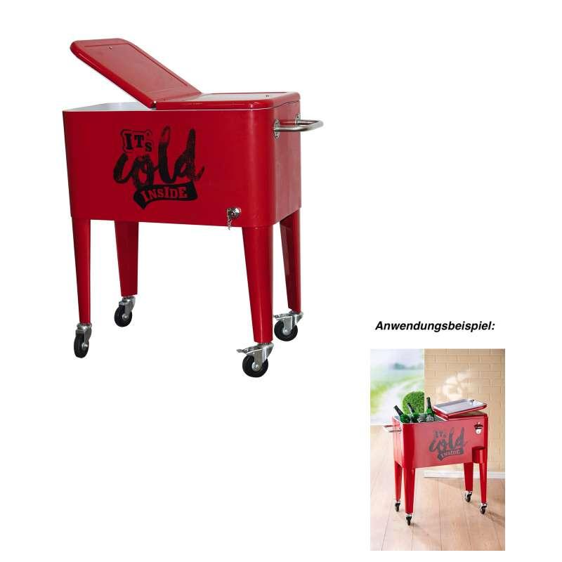GILDE Getränkekühler Kühlbox rot ca. 35x66x78 cm 70 L Flaschenkühler Metall
