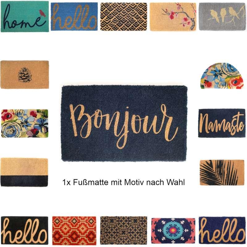 Fab Hab Non-Slip Fußmatte aus Kokosfaser 46x76x1,5 cm rutschfest 25 verschiedene Designs