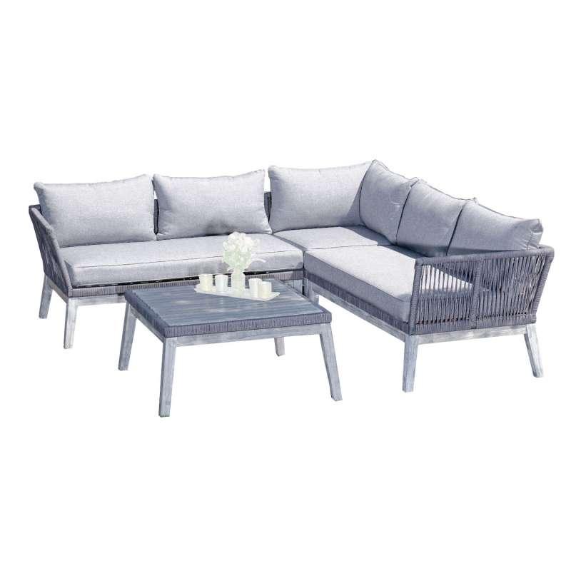 SunnySmart 2-teilige Loungegruppe Bella Akazienholz und Aluminium mit Polyrope grau