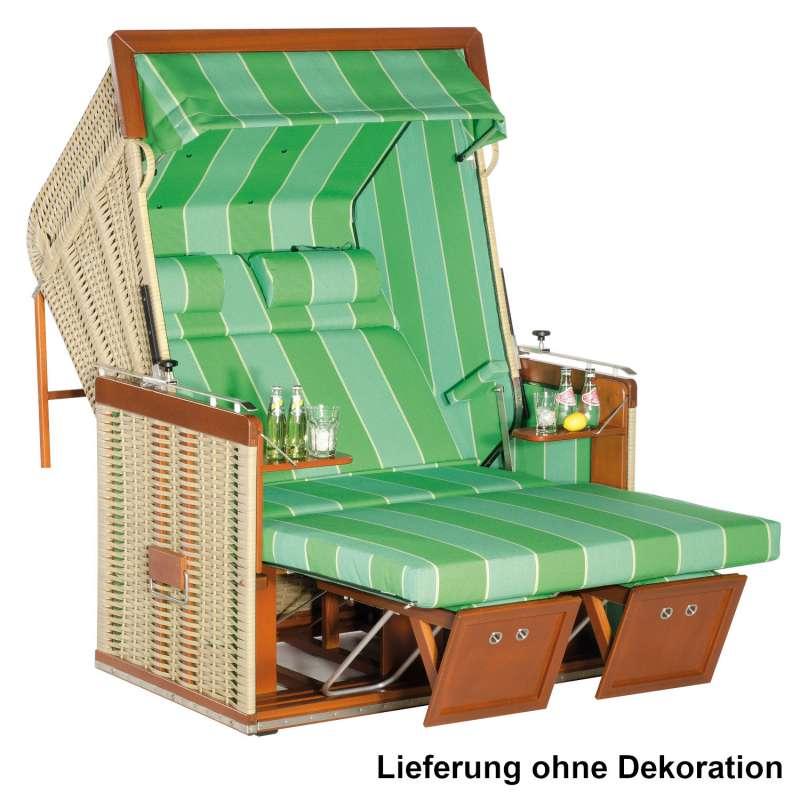 Sonnenpartner Strandkorb Präsident 2-Sitzer Liegemodell seegras/grün mit Kissen