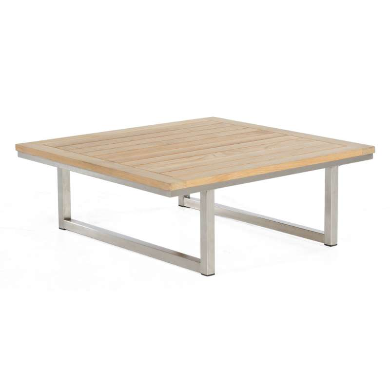 Sonnenpartner Lounge-Tisch Lotus Edelstahl mit Teakholz Loungetisch Beistelltisch