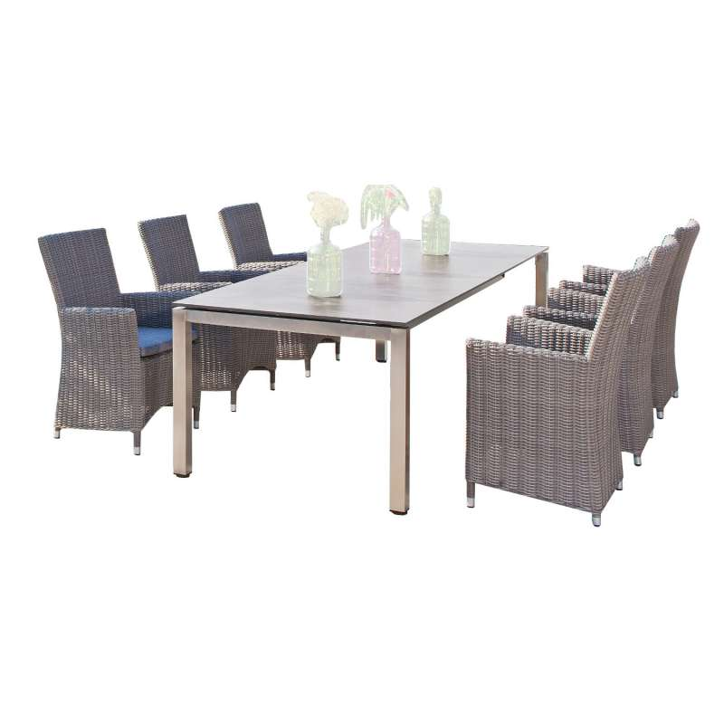 Sonnenpartner 7-teilige Sitzgruppe Ikarus & Base 200x100 cm Polyrattan stone-grey Edelstahl HPL Gart