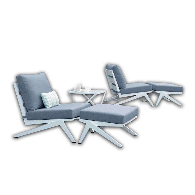 Stern 5-teilige Lounge-Sitzgruppe Jackie 2 Sessel mit Hockern und Tisch Aluminium weiß/seidengrau