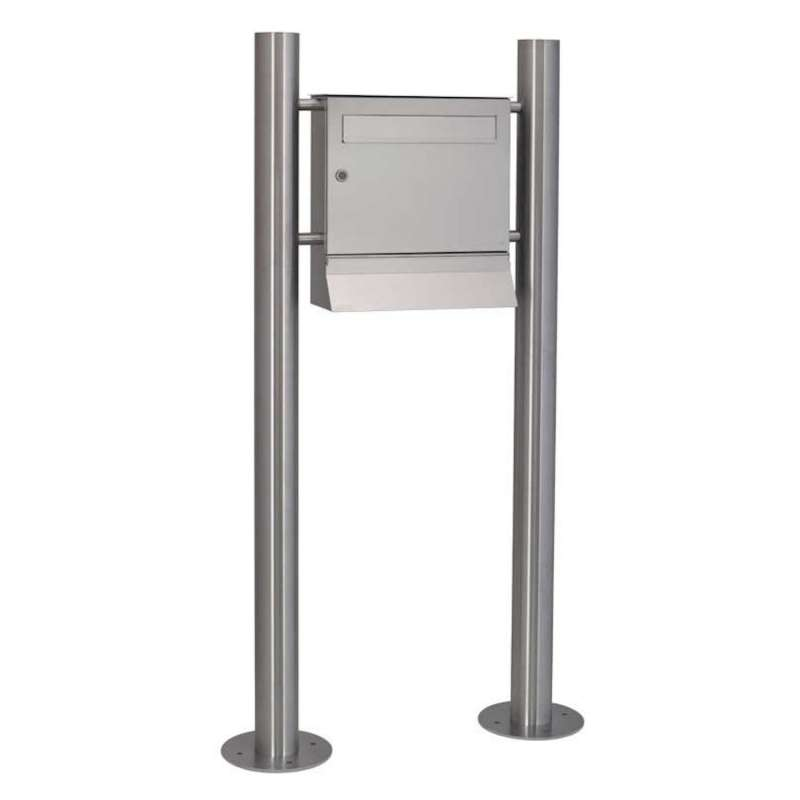Heibi Standbriefkasten MALYPSO mit 2 Standfüßen Edelstahl zum andübeln 80x22,5x146 cm DIN C4 quer