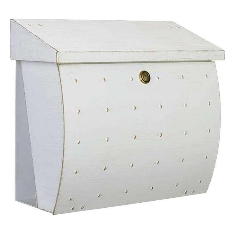 Heibi Briefkasten KROSIX Edelstahl pulverbeschichtet weiß-gold DIN C4 quer