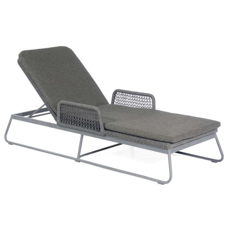 Sonnenpartner Lounge-Liege Poison Aluminium mit Polyrope dunkelgrau mit Auflage Relaxsessel Gartenli