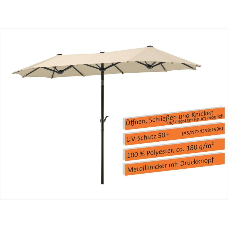 Schneider Schirme Salerno 300 x 150 cm Balkonschirm XXL Sonnenschirm natur Sonnenschutz