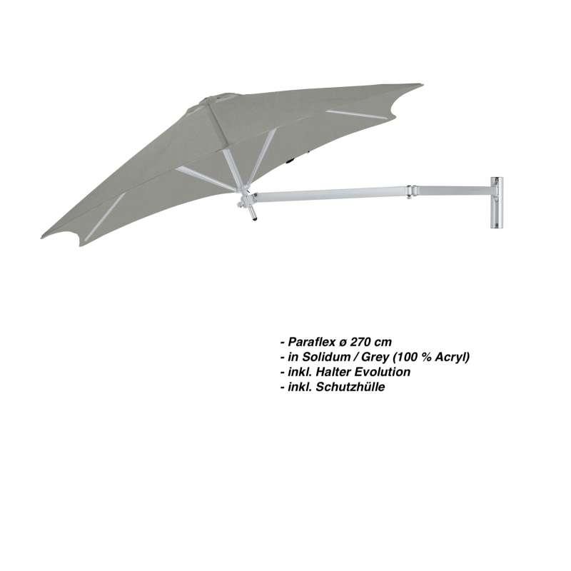 Umbrosa Paraflex ø 270 cm Sonnenschirm Wandschirm SET Solidum Grey inkl. Halterung
