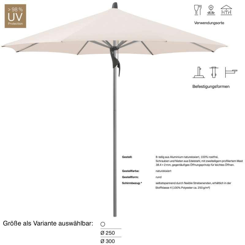 GLATZ Sonnenschirm FORTINO® rund ø 250 oder ø 300 cm Stoffklasse 4 Vanilla 453 Mittelmastschirm