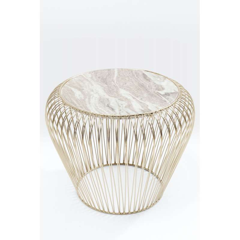 KARE Design Beistelltisch Beam Grau Marmor Messing Ø 43 cm 83737