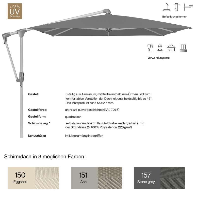 GLATZ Sonnenschirm SUNWING® CASA easy quadratisch 270 x 270 cm in 3 Farben Stoffklasse 2 Ampelschirm