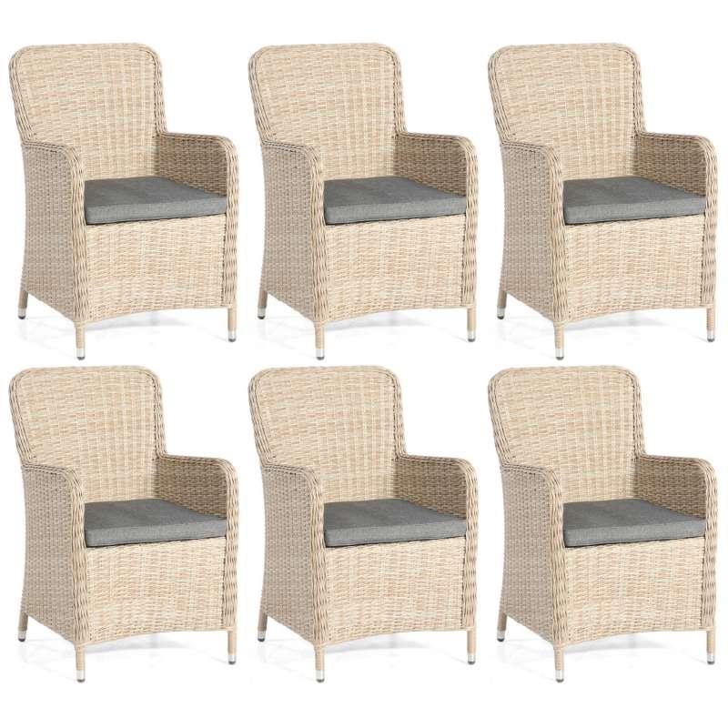 SunnySmart 6er-Set Garten-Sessel Vigo II Aluminium mit Kunststoffgeflecht sandstone Gartenstuhl