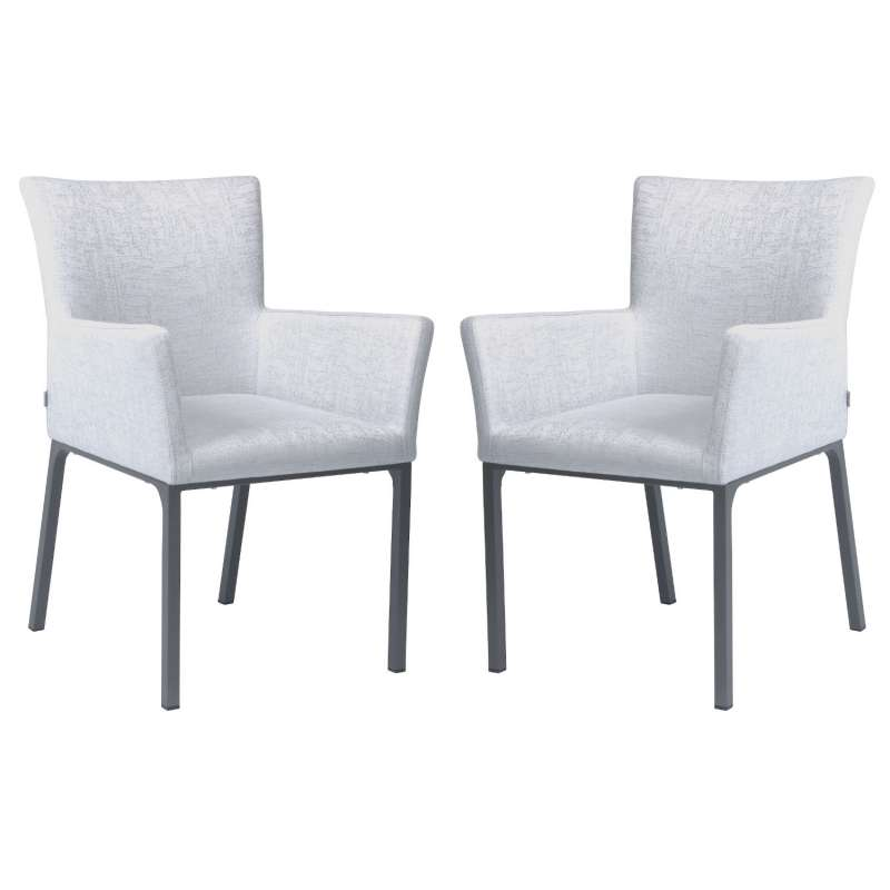 Stern 2er-Set Dining-Sessel Artus Aluminium anthrazit/ Outdoorstoff hellgrau seidengrau Loungesessel