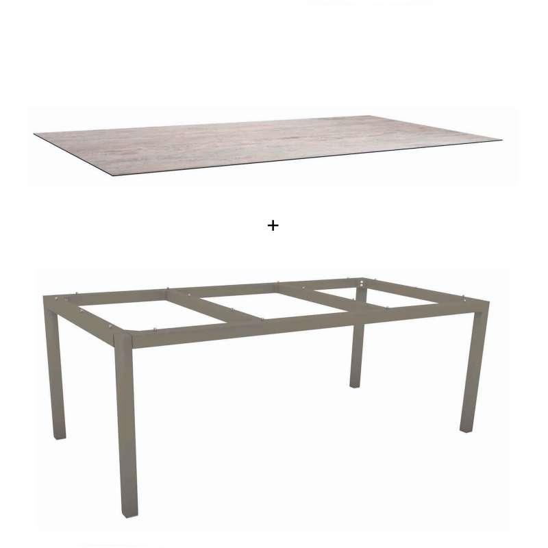 Gartentisch alu 200  Stern Gartentisch 200 x 100 cm Alu taupe Sand Esstisch Tischgestell ...