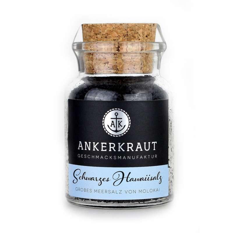 Ankerkraut Schwarzes Hawaiisalz Salz Gewürzsalz im Korkenglas 165 g Meersalz