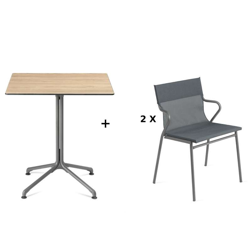 Lafuma Horizon Tisch-Set Loungetisch 70 x 70 cm inkl. 2 Loungestühle Storm Grey