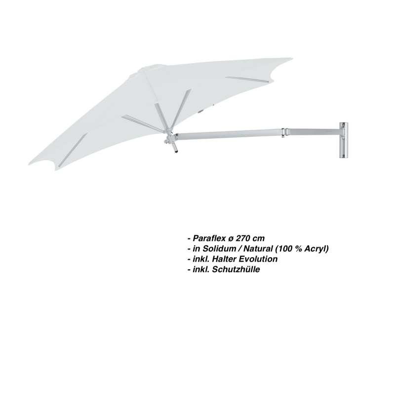 Umbrosa Paraflex ø 270 cm Sonnenschirm Wandschirm SET Solidum Natural inkl. Halterung