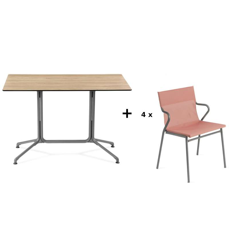 Lafuma Horizon Tisch-Set Loungetisch 115x70x74,5 cm Bois Wood 4 Stühle Terre Cuite
