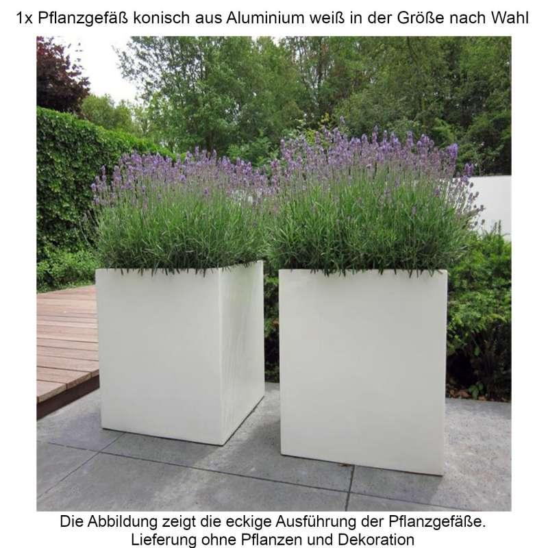 Mecondo Pflanzgefäß konisch aus Aluminium verkehrsweiß RAL 9016 Größe nach Wahl Blumenkübel