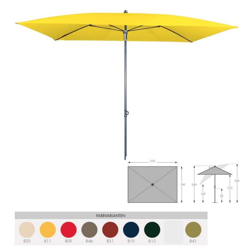 Doppler Sunline Waterproof 230 x 190 cm Sonnenschirm 8 Farbvarianten Sonnenschutz