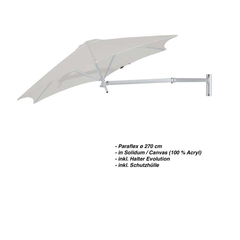 Umbrosa Paraflex ø 270 cm Sonnenschirm Wandschirm SET Solidum Canvas inkl. Halterung
