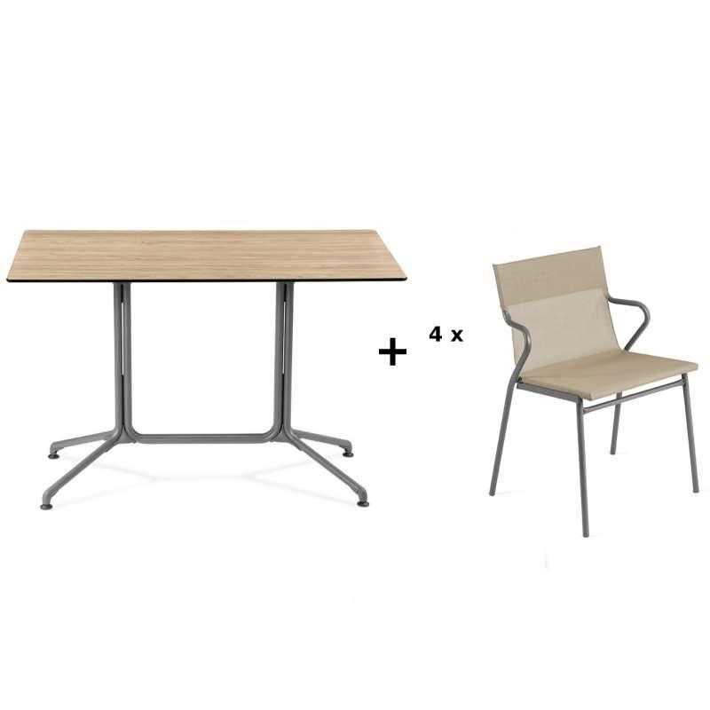 Lafuma Horizon Tisch-Set Loungetisch 115x70x74,5 cm Bois Wood 4 Stühle Noisette