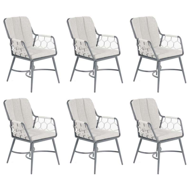 Sonnenpartner 6er-Set Gartensessel Yale Aluminium mit Polyrope silbergrau Gartenstuhl Sessel