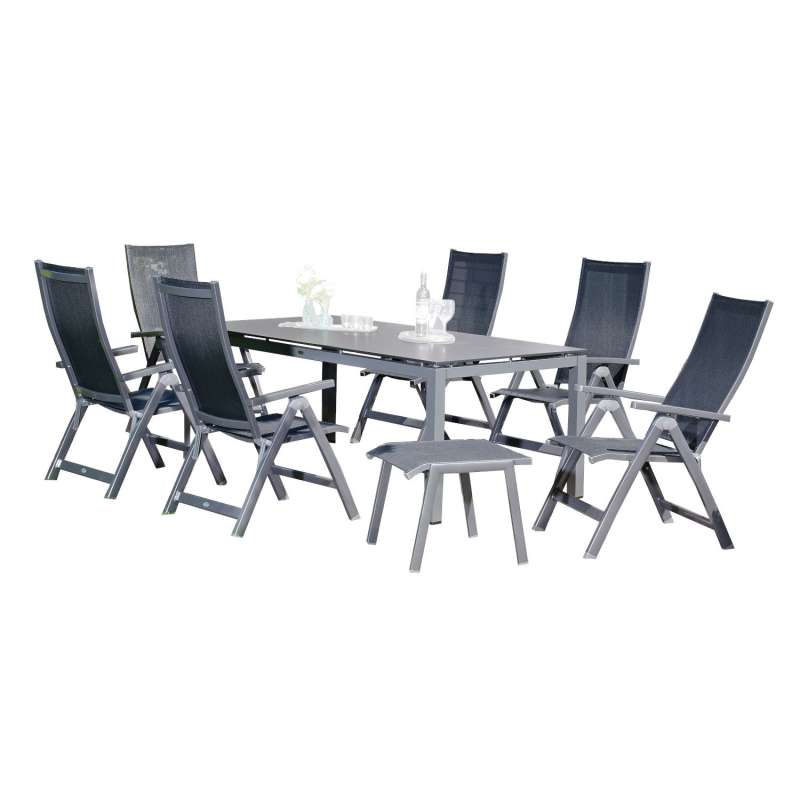 Sonnenpartner 8-teilige Sitzgruppe Fresno & Base 160x90 cm mit 6 Klappsesseln Aluminium anthrazit