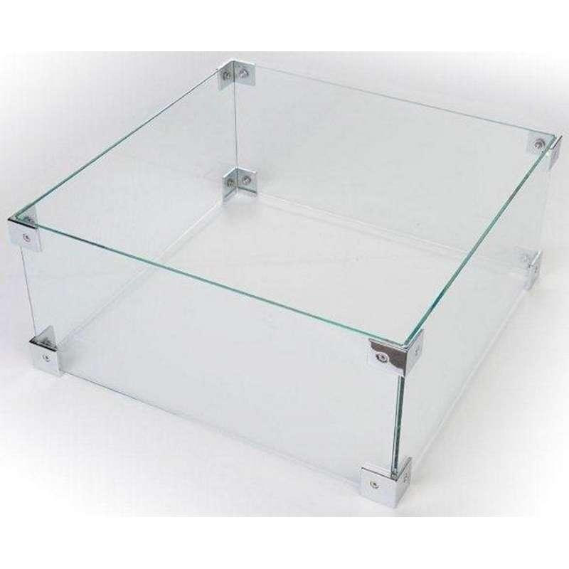 Happy Cocooning Glasschirm für Einbau-Feuertische quadratisch 40x40x17 cm Glasumrandung