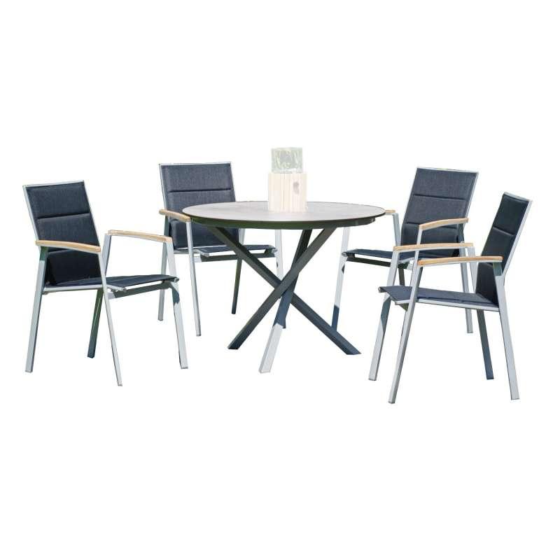Sonnenpartner 5-teilige Sitzgruppe Sierra & Base-Spectra Ø 100 cm mit 4 Stapelstühlen Aluminium silb