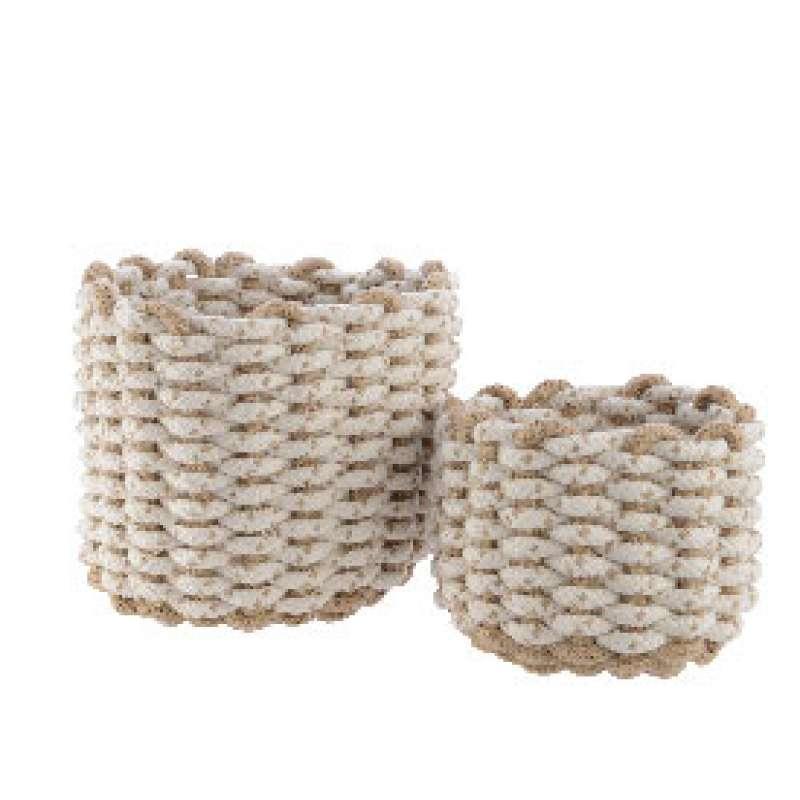 Kaemingk Aufbewahrungskörbe 2er Set Korb gewebtes Seil weiß