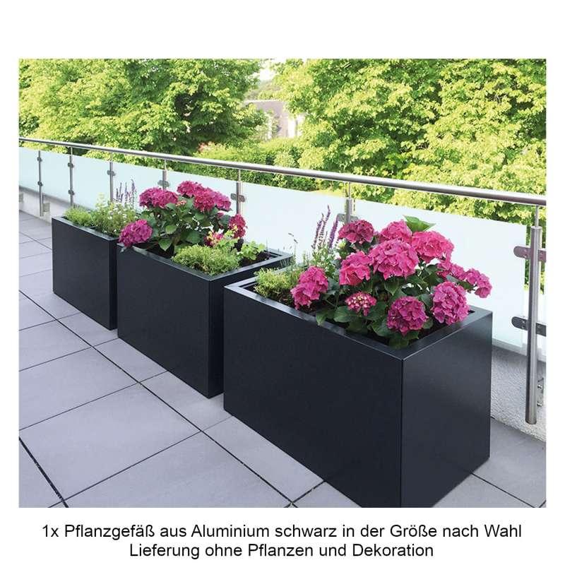 Mecondo Pflanzgefäß CONTURA Stahl tiefschwarz glänzend RAL 9005 Blumenkübel Bewässerungssystem