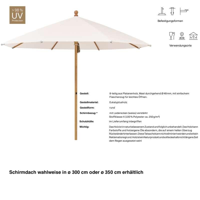 GLATZ Sonnenschirm PIAZZINO rund 2 Größen 300 / 350 cm Farbe 453 Vanilla Mittelmastschirm