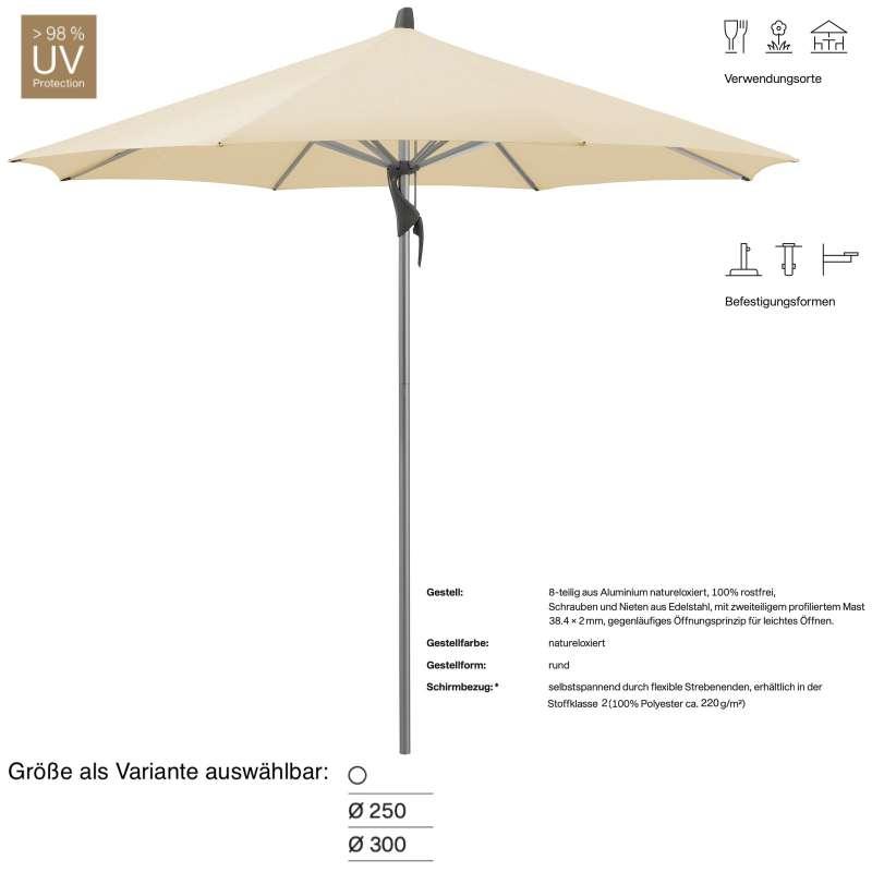 GLATZ Sonnenschirm FORTINO® easy rund ø 250 oder ø 300 cm Stoffklasse 2 Eggshell Mittelmastschirm