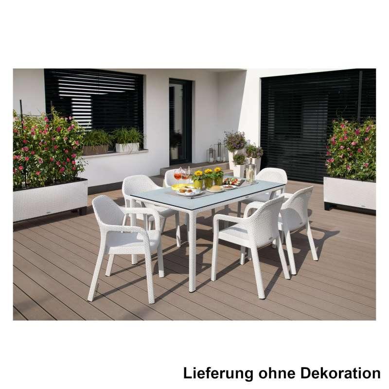Lechuza 7-teilige Sitzgruppe Flechtstruktur weiß Gartentisch HPL 160x90 cm 6 Stapelstühle