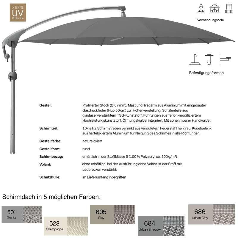 GLATZ Sonnenschirm PENDALEX® P+ rund ø 350 cm in 5 Farben Stoffklasse 5 Freiarmschirm