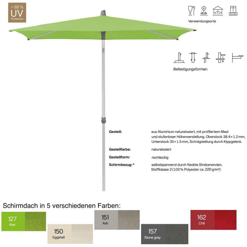 GLATZ Sonnenschirm ALU-SMART easy rechteckig 250 x 200 cm in 5 Farben Stoffklasse 2